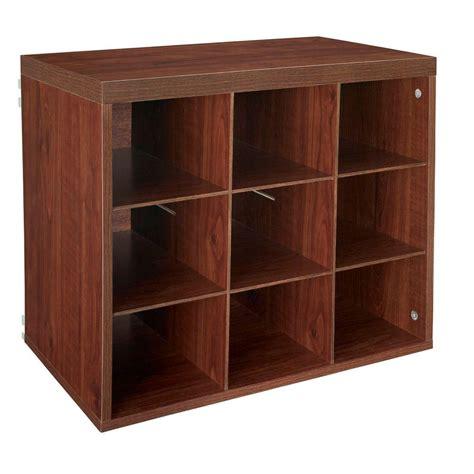 closetmaid 37 in x 39 in mahogany 9 cube organizer 14954