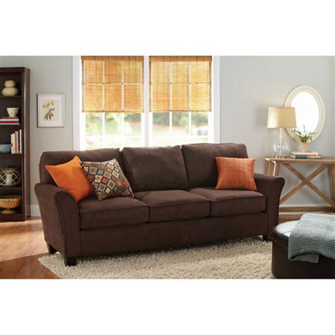 better homes and gardens sofa better homes and gardens 3 cushion sofa brown walmart com