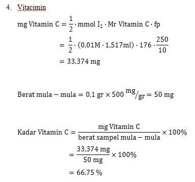 Vitacimin Vitamin C 500 Mg Hisap analis kesehatan laporan penentuan kadar vitamin c iodometri