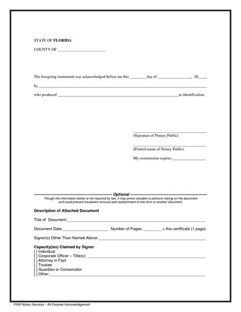 acknowledge form template notary form acknowledgement pdf