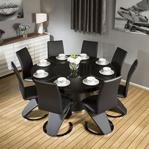 large table and chairs modern large black oak dining table 8 black z shape