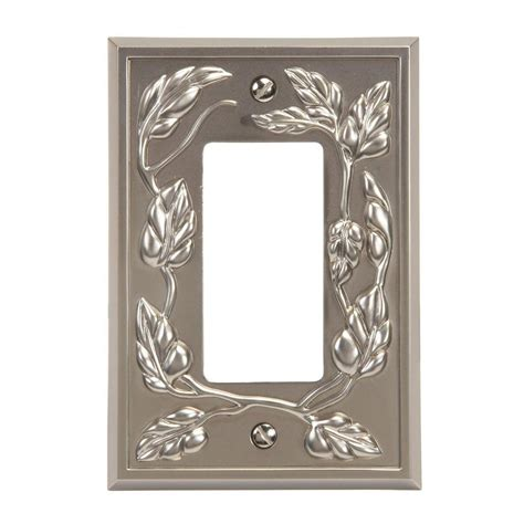 amerelle leaf 1 decora wall plate satin nickel 85rn