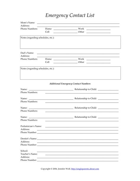 emergency contact form template healthcare forms