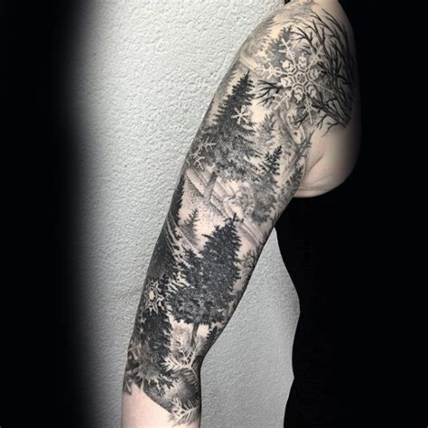 shaded sleeve tattoos for men 75 tree sleeve designs for ink ideas with