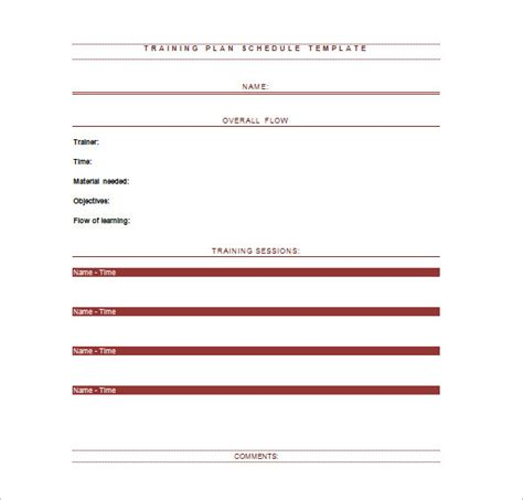 training templates for word training schedule templates 19 free word excel pdf