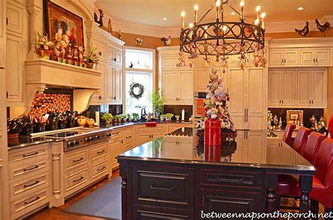 kitchen decorated for christmas with peppermint candy