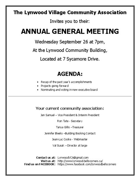 agenda for agm template lynwood community association 2012 09