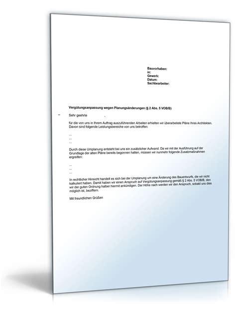 Nachtragsangebot Muster Musterbrief Nachtrag Wegen Planungs 228 Nderungen