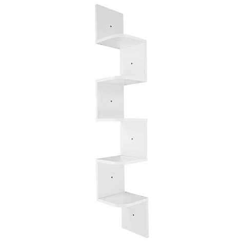 Corner Wall Mounted Shelf by 5 Tiers Wall Mount Corner Zig Zag Wood Shelf Floating
