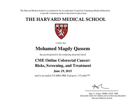 Mba Credit Hours Harvard by Cme Colorectal Cancer Certificate Quot Harvard