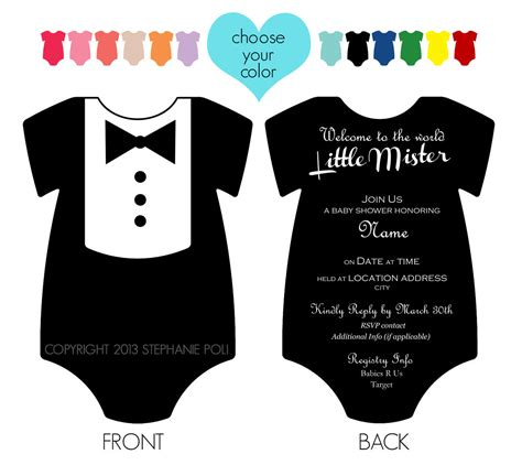 printable onesies invitations customized dapper tuxedo onesie baby shower invitation