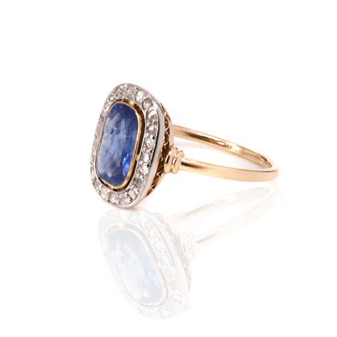 and sapphire deco ring deco untreated sapphire and ring made in