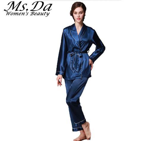 2pcs Blouse belted nightgown pajamas set 2pcs blouse femme silk pajamas casual costumes