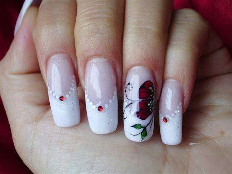 imagenes uñas decoradas frances manicura francesa con flores 21 dise 241 os de u 241 as ε