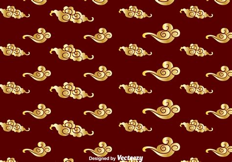 chinese gold pattern vector golden chinese cloud pattern download free vector art