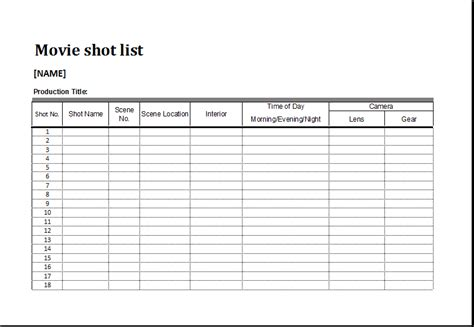 shotlist template list template for ms excel excel templates