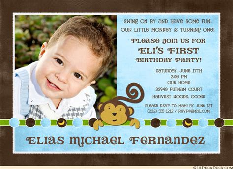 monkey boy birthday party invitation 1st banana dots