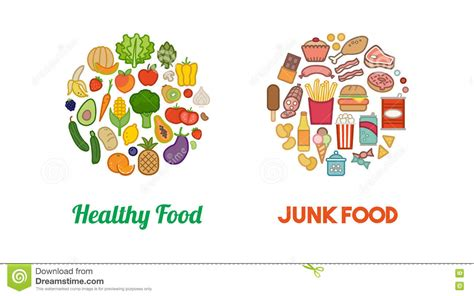healthy fats clipart healthy vegetables and junk food stock vector