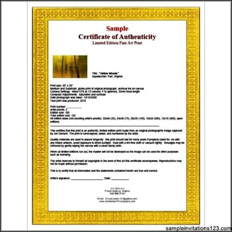 artist certificate of authenticity template certificate of authenticity templates free