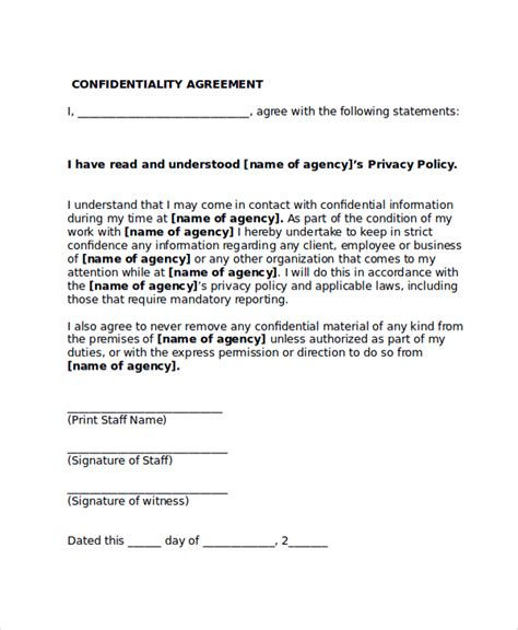 Agreement Letter To Work Sle Confidentiality Agreement Form 8 Documents In Pdf Word