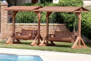 Swinging Bench Canopy Garden Swing Under A Small Wooden Pergola Near Trees