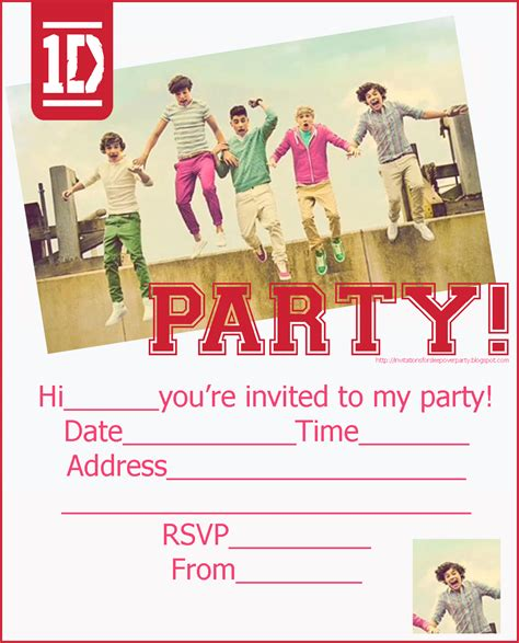 Printable Birthday Invitations One Direction | invitations for sleepover party