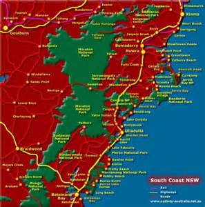 map of south coast nsw map travel
