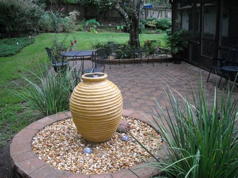 water feature brick paver patio outdoor living