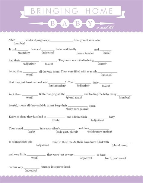 Mad Libs Baby Shower Printable by Purpletrail Lavendar And White Banner Baby Mad Lib