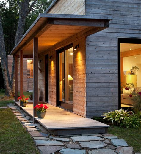 Architects House (First Phase house/future Garage) Contemporary Porch portland maine by