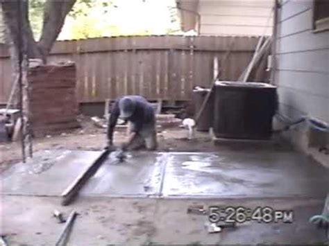 pouring a concrete or cement patio slab youtube