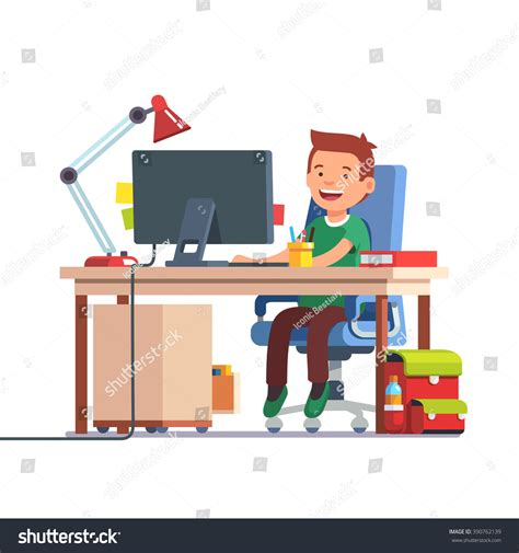 Young School Kid Boy Studying Sitting Stock Vector Kid At Desk