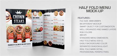 half fold menu template restaurant menu mock ups graphicriver