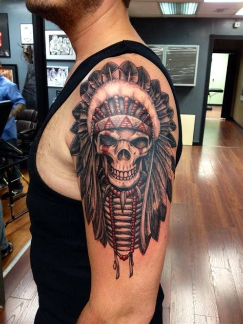skull headdress tattoo 73 stylish skull shoulder tattoos