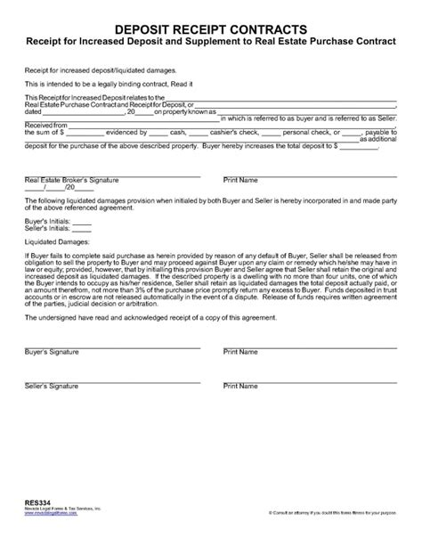 Purchase Deposit Receipt Template by Real Estate Purchase Contract Template Real Estate