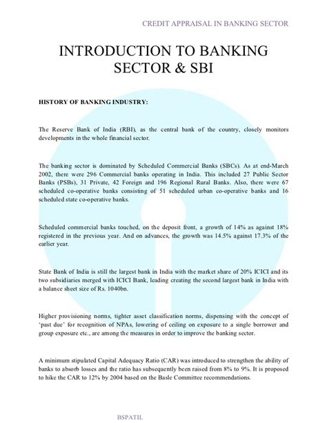 Appraisal Introduction Letter Credit Appraisal In Sbi Bank Project6 Report