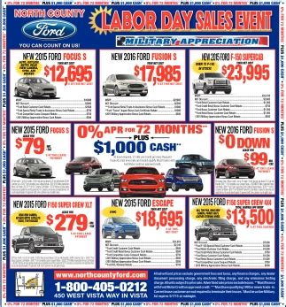 Ford Labor Day Sale County Ford Labor Day Sales Event Shopping Ads