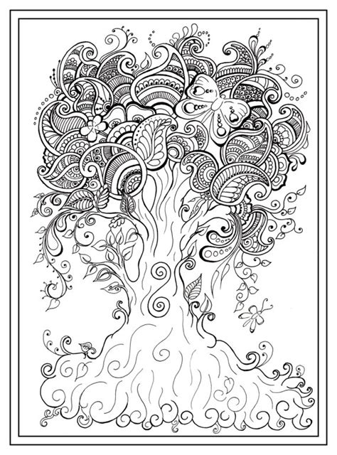 Colouring In Pdf Tree Dragonfly Henna Zen