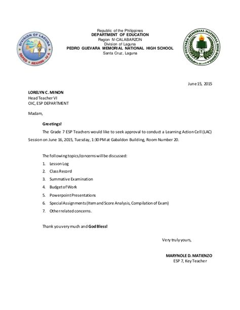 Deped Official Letterhead lac session letter of approval