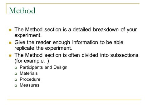 apa methods section five basic sections of a research paper ppt video online
