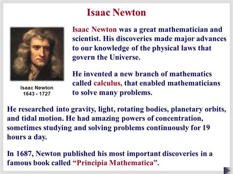 isaac newton s biography and his most important discoveries boardworks as physics dynamics ppt download