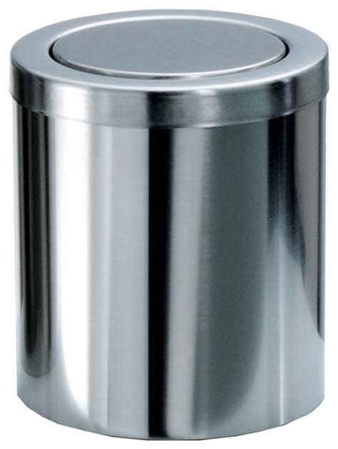 Bathroom Trash Can With Lid Small Coutertop Wastebasket With Swing Lid