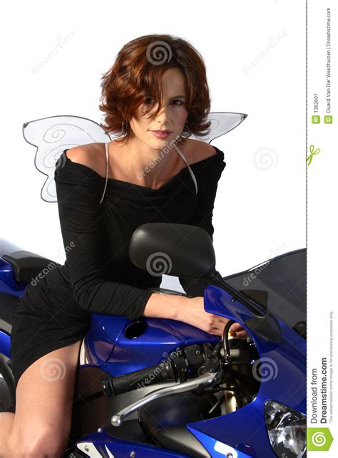 on motorcycle black dress and wings royalty