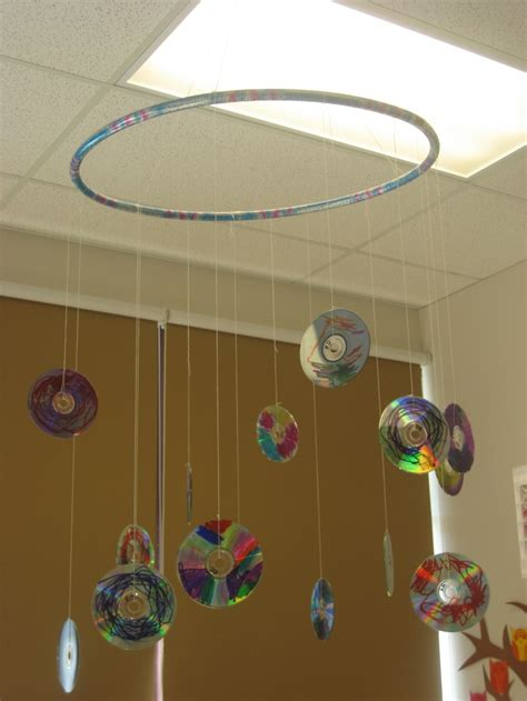 arts and craft for recycled cd mobile in my classroom preschool