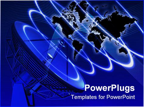 powerpoint templates free download telecommunication world map with telecommunication equipment 3d rendered