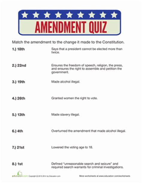 Amendments Worksheet by Amendments Quiz Worksheet Education
