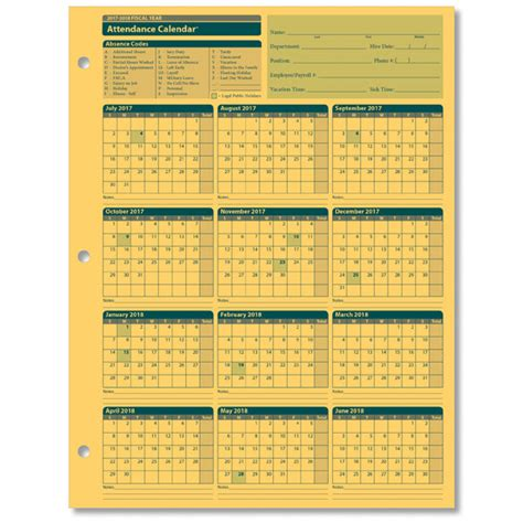 fiscal year calendar template employee attendance calendar for the 2018 2019 fiscal year