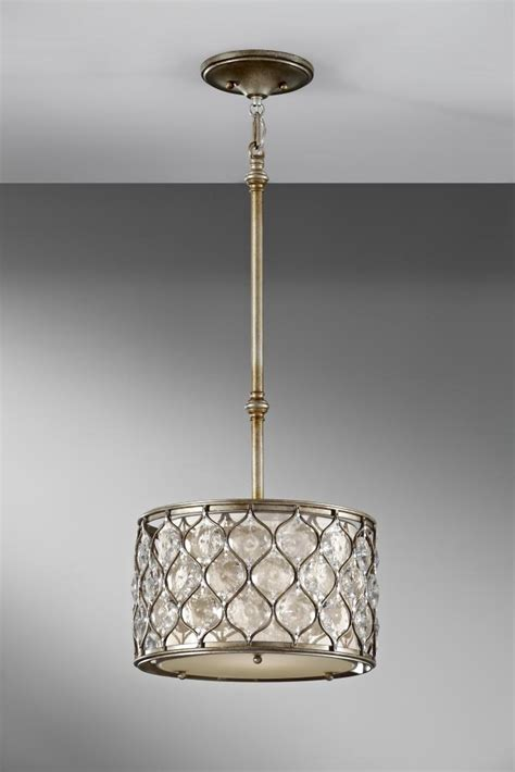 Fabric Drum Pendant Lights Feiss One Light Linen Fabric Shade Burnished Silver Drum Shade Pendant Burnished Silver P1259bus