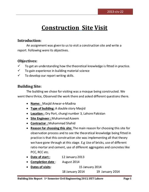 Construction Site Visit Report Template visit to a construction site