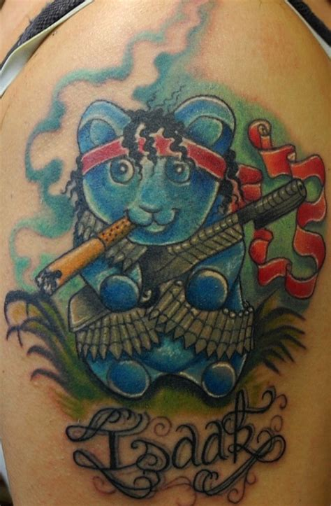 gummy bear tattoo rambo gummy in color by onini kanabo tattoonow